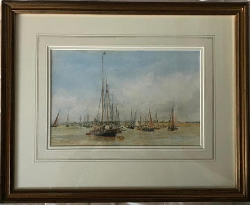 A fine marine watercolour by W.L.Wyllie RA 'The sailing yacht Reverie on the river Hamble' (1 of 2)
