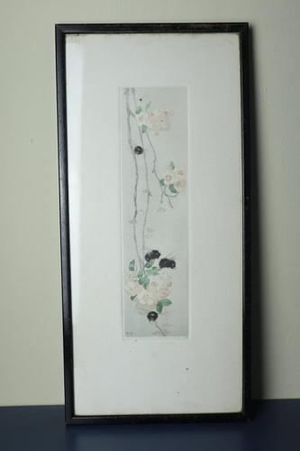 Scottish Arts & Crafts, Katharine Cameron RWS ARE RE (1874 - 1965) Bees & Apple Blossom coloured etching c.1906 (1 of 17)