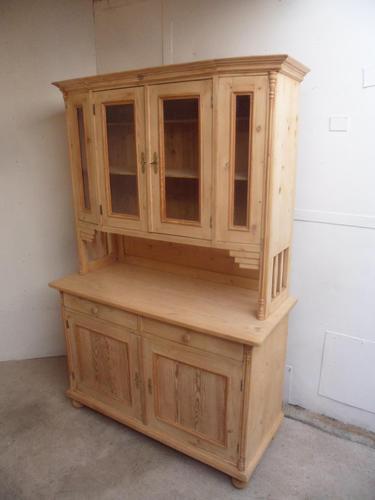 Lovely Art Deco 4 Door Antique Pine Glazed Kitchen Dresser To Paint/Wax (1 of 9)