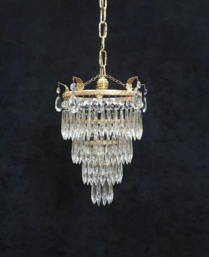 Art Deco Italian Four Tier Crystal Glass Chandelier (1 of 6)