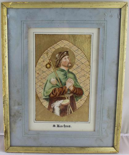 Antique Illuminated Watercolour of Saint Rochus (1 of 7)