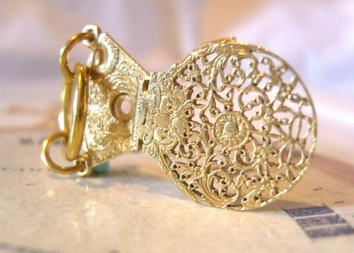 Georgian Pocket Watch Chain Fob 1830s Antique Brass Verge Balance Cock Fob (1 of 10)