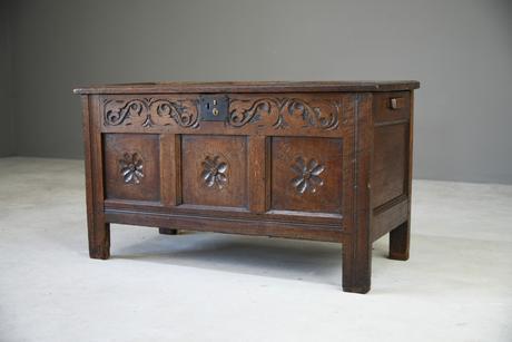 Antique 18th Century Oak Coffer (1 of 12)