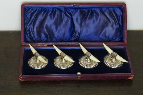 A Rare Cased Set of Four Silver Knife Rests (1 of 3)