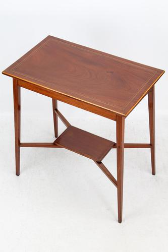 Small Edwardian Mahogany & Inlaid Side Table (1 of 11)