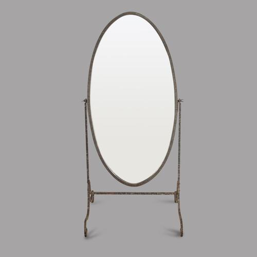Early 20th Century Ribbed Metal Cheval Mirror (1 of 3)