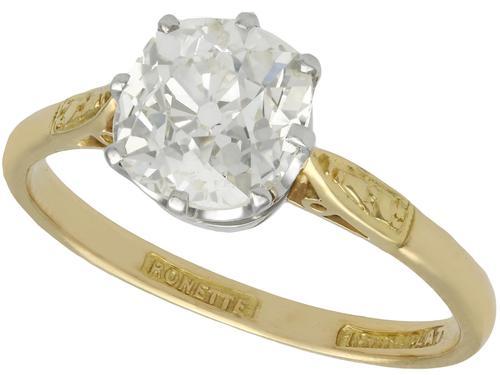 1.96ct Diamond & 18ct Yellow Gold, Platinum Set Solitaire Ring - Antique c.1910 (1 of 9)
