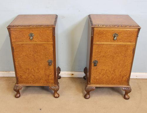 Pair of Burr Walnut Bedside Cabinets c.1930 (1 of 11)