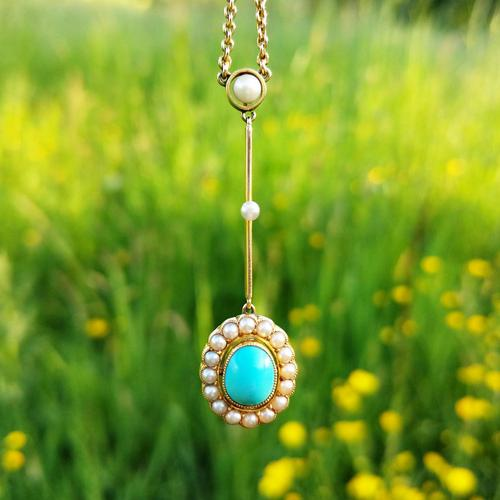 Antique Edwardian 15ct Gold Turquoise & Pearl Edna May Necklace, Vintage Pendant Necklace (1 of 5)