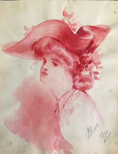 Original Watercolour of an Edwardian Lady in a fine hat. Signed A. Robb 1910. Framed (1 of 2)
