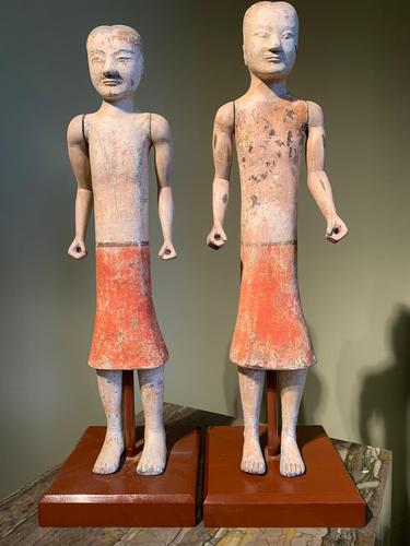 Two Han Dynasty Chinese Pottery 'Stick Men' figures '200BC-200AD' (1 of 8)