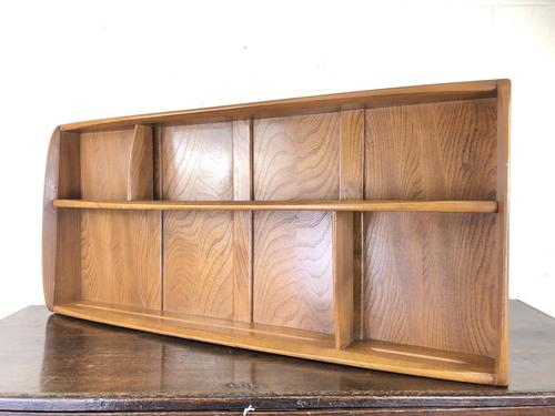 Vintage Mid Century Ercol Elm Plate Rack or Wall Shelf (M-1585) (1 of 8)