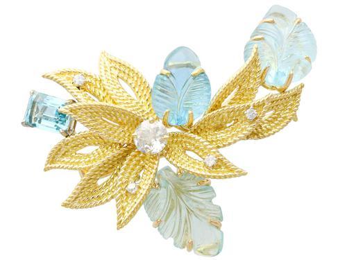 12.5ct Aquamarine & 0.62ct Diamond, 18ct Yellow Gold Brooch - Vintage c.1960 (1 of 9)