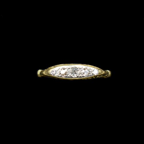 Antique Old Cut Diamond Five Stone 18ct Gold Scroll Ring (1 of 10)