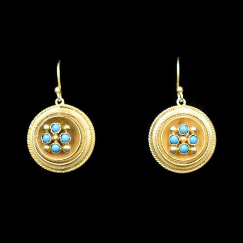 Antique Victorian Round Turquoise Gold on Silver Drop Earrings (1 of 6)