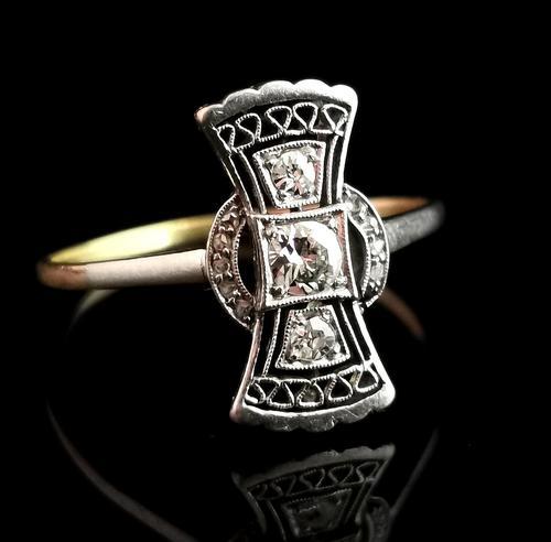 Vintage Art Deco Diamond Filigree Ring, 18ct Gold & Platinum (1 of 14)