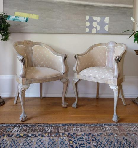 Pair of Late 19th Century French Part Upholstered Painted Tub Chairs (1 of 23)
