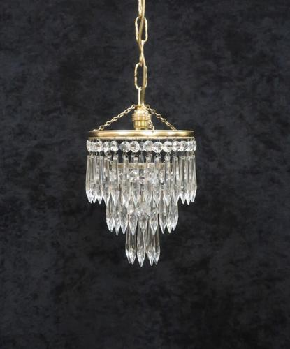 Italian  Art Deco 3 Tier Crystal Glass Chandelier (1 of 7)