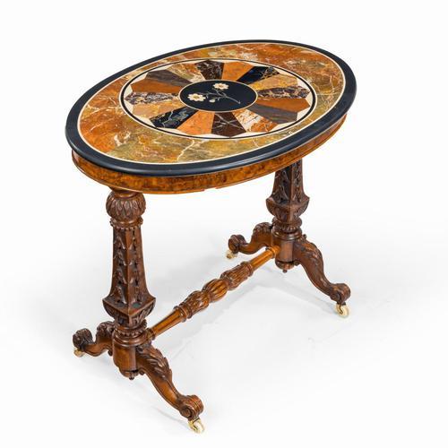 Victorian Walnut & Pietra Dura Table (1 of 16)