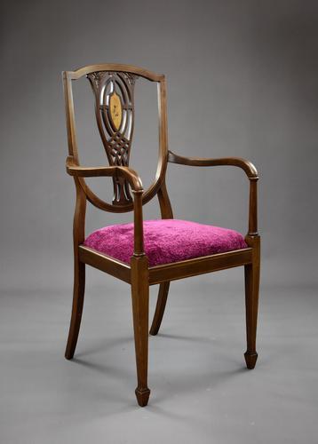 Edwardian Mahogany Inlaid Open Armchair (1 of 11)
