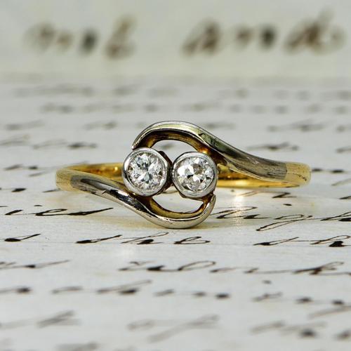 The Antique Old Cut Bezel Set Toi Et Moi Ring (1 of 5)