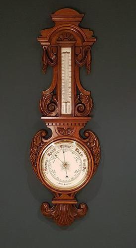 Superb Antique Polished Oak Banjo Barometer (1 of 6)