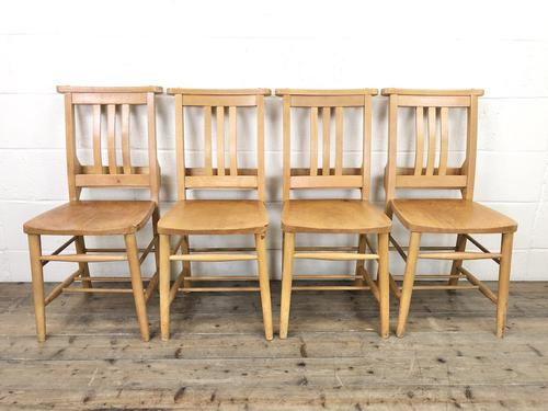 Set of Four Vintage Beech Chapel Chairs (1 of 16)