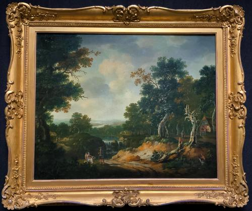 Exceptional Large 1700s Old Master Giltwood Landscape Oil on Canvas Painting (1 of 17)