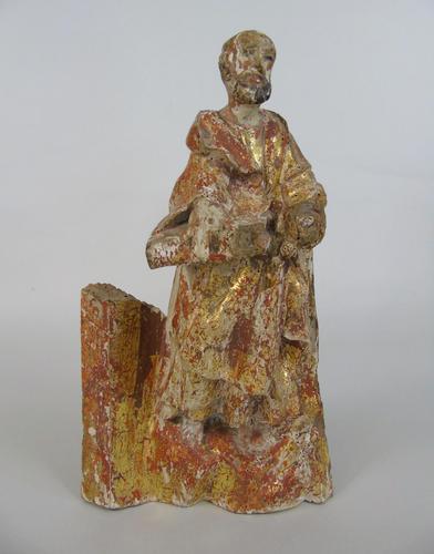 Rare Antique Carved Gilt & Polychrome Figure Saint Paul 17th Century (1 of 10)