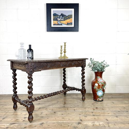 Antique 19th Century Carved Oak Table (1 of 11)