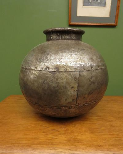Large Antique Metal Pot, Decorative Vase, early 20th century hammered metal (1 of 12)