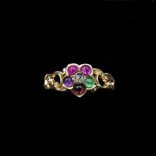 Antique REGARD Acrostic Multi Gemstone Cluster 18ct Gold Ring (1 of 9)