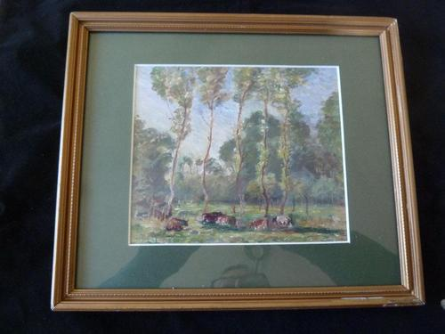 "Ascribed To / Circle of Camille Pissarro ,Watercolour ""Rural Scene in Eragny ""? (1 of 8)"