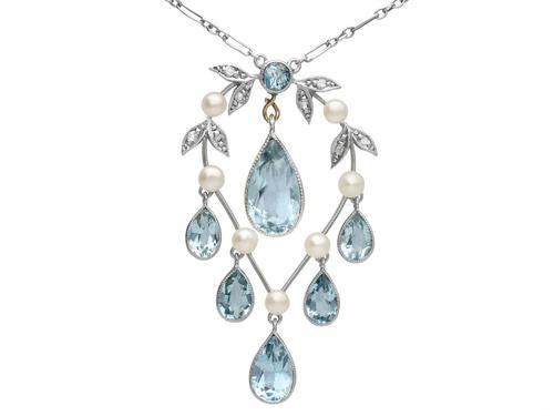 2.27ct Aquamarine, Diamond, Pearl & 14ct Yellow Gold Pendant - Antique c.1900 (1 of 9)