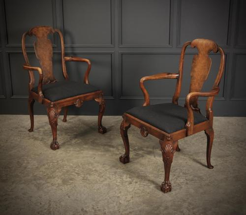 Pair of Queen Anne Style Walnut Carver Chairs c.1920 (1 of 19)