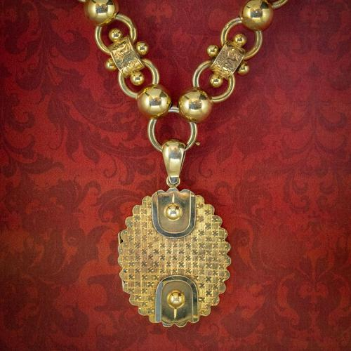 Antique Victorian Locket Collar Necklace Sterling Silver 18ct Gold Gilt Dated 1881 (1 of 11)