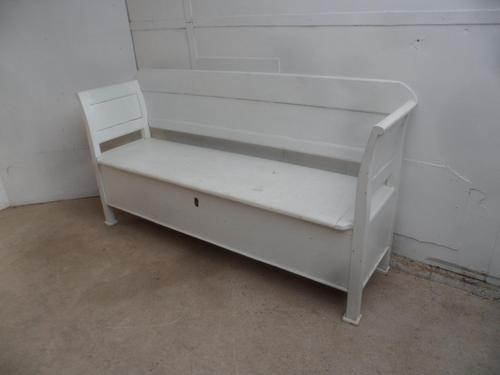 Original Antique Pine Painted White Shabby Chic 3 Seater Box Settle / Bench (1 of 10)