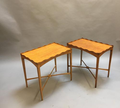 Pair of Edwardian Satinwood Occasional Tables (1 of 11)