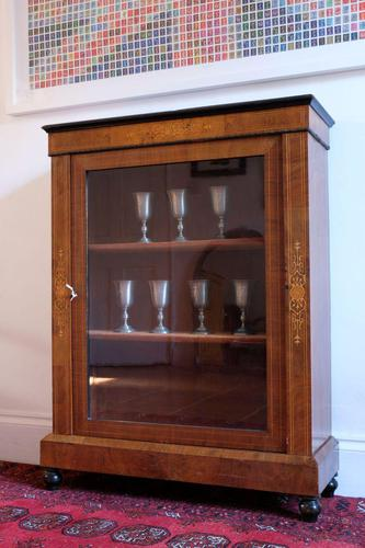 Victorian inlaid walnut pier cabinet on turned supports and original glass framed door (1 of 13)