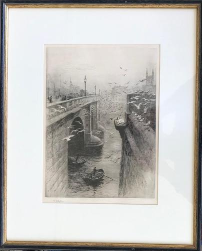 Signed Etching by William L Wyllie RA 'London Bridge & Southwark Cathedral' (1 of 1)