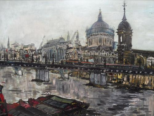 Large Oil on Board The Thames Listed Artist Sheila Appleton (1 of 12)