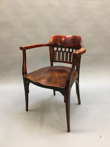 Secession Desk Chair by Otto Wagner, stamped (1 of 11)