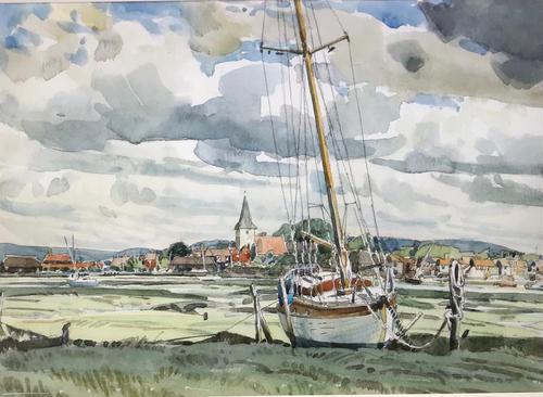 'Watercolour of Bosham' by Chichester Artist Peter Iden (1 of 2)