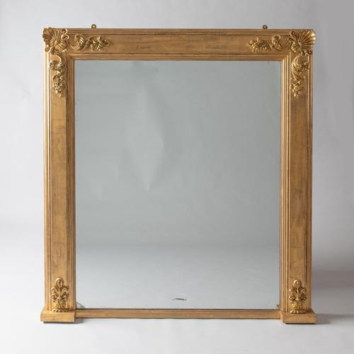 Large English Victorian Gilt Square Overmantle Mirror (1 of 6)