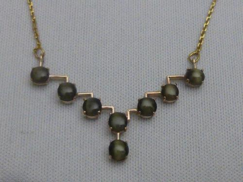 Art Deco Cat's Eye Necklace (1 of 7)