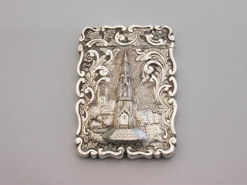 Victorian Silver Castle-top Card Case Martyrs Memorial Oxford by Frederick Marson, Birmingham, 1850 (1 of 10)