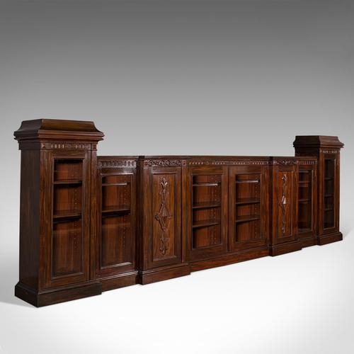 Huge, 15 Foot Antique Glazed Bookcase, English, Mahogany, Victorian c.1880 (1 of 12)