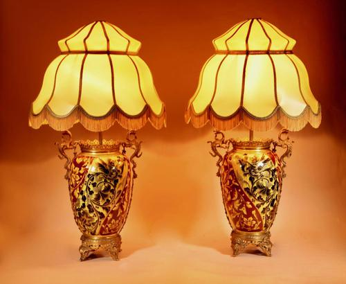Pair of Spectacular & Beautiful Ceramic Hand Painted Paraffin Lamps (1 of 12)