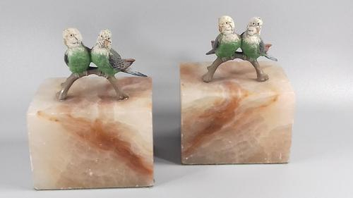 Art deco fox cold painted budgerigars marble book ends (1 of 13)