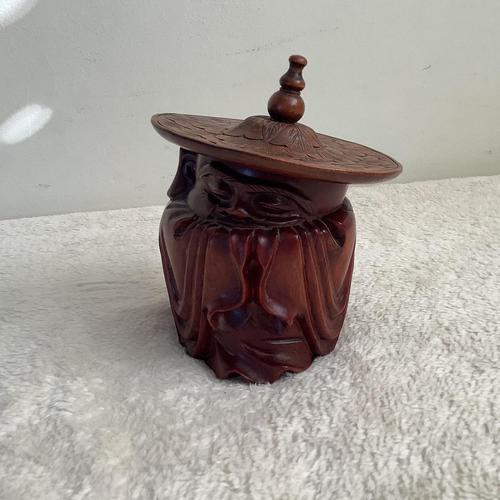 Hardwood Carved Tobacco Box (1 of 3)